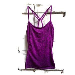 Athleta purple strappy tank boho floral design L